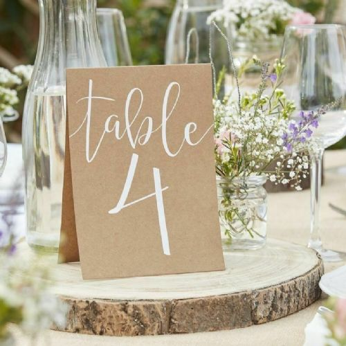 Kraft Table Number Cards 1-12